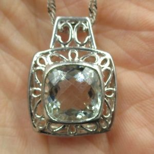 """Jewelry - Vintage 18"""" Sterling Silver Aquamarine Necklace"""